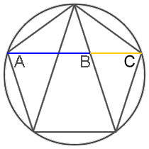 Golden Ratio in the construction of a pentagon in a circle