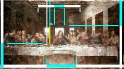 The Last Supper by Leonardo Da Vinci makes extensive use of phi, the golden ratio or Divine proportion in its composition and design