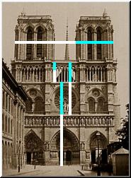 Phi, the golden ratio is found in design of Notre Dame cathedral in Paris