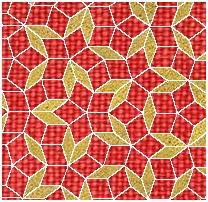 Penrose tiling based on diamonds with phi, golden ratio, proportions in their height and width dimensions