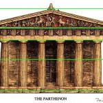 Phi, the Golden Ratio, in an architectural rendering of the Parthenon in Athens
