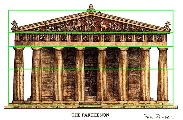 Phi, the Golden Ratio, design proportions in an architectural rendering of  the Parthenon in