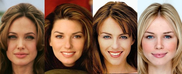 Beautiful faces - Angelina Jolie, Shania Twain, Elizabeth Hurley and Florence Colgate