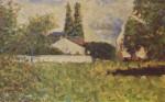 800px-Georges_Seurat_030- Ein Haus zwischen Bäumen