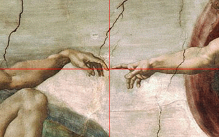 God and Adam's fingers touch at golden ratio