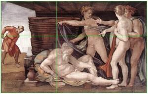 Michelangelo_drunken_Noah-golden-ratio