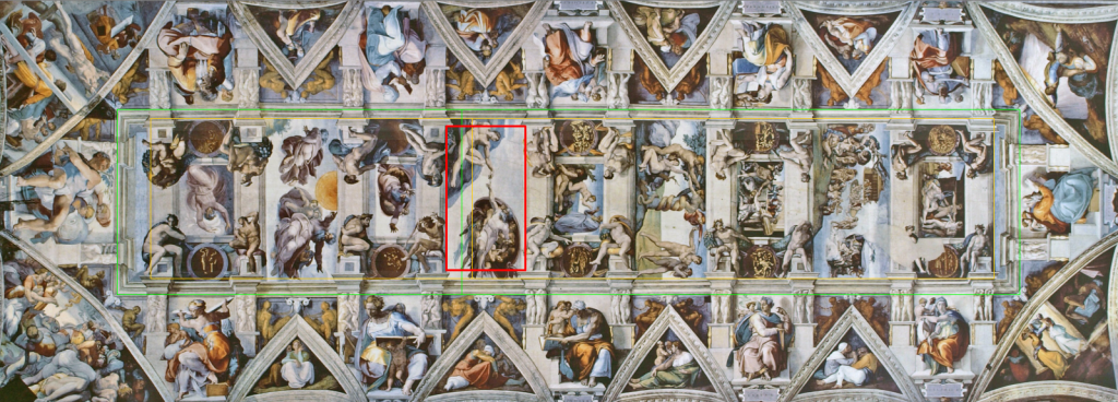 Sistine Chapel ceiling length golden ratio points