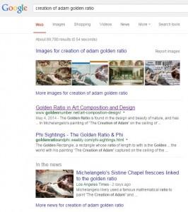 google creation of adam golden ratio search