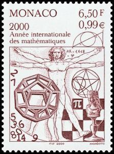 stamp monaco 2000 with golden ratio and pi